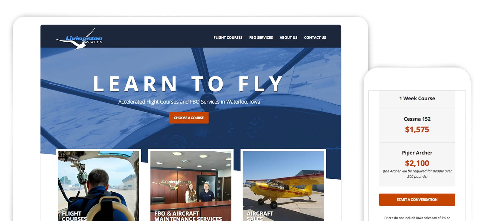 Website Design for Livingston Aviation