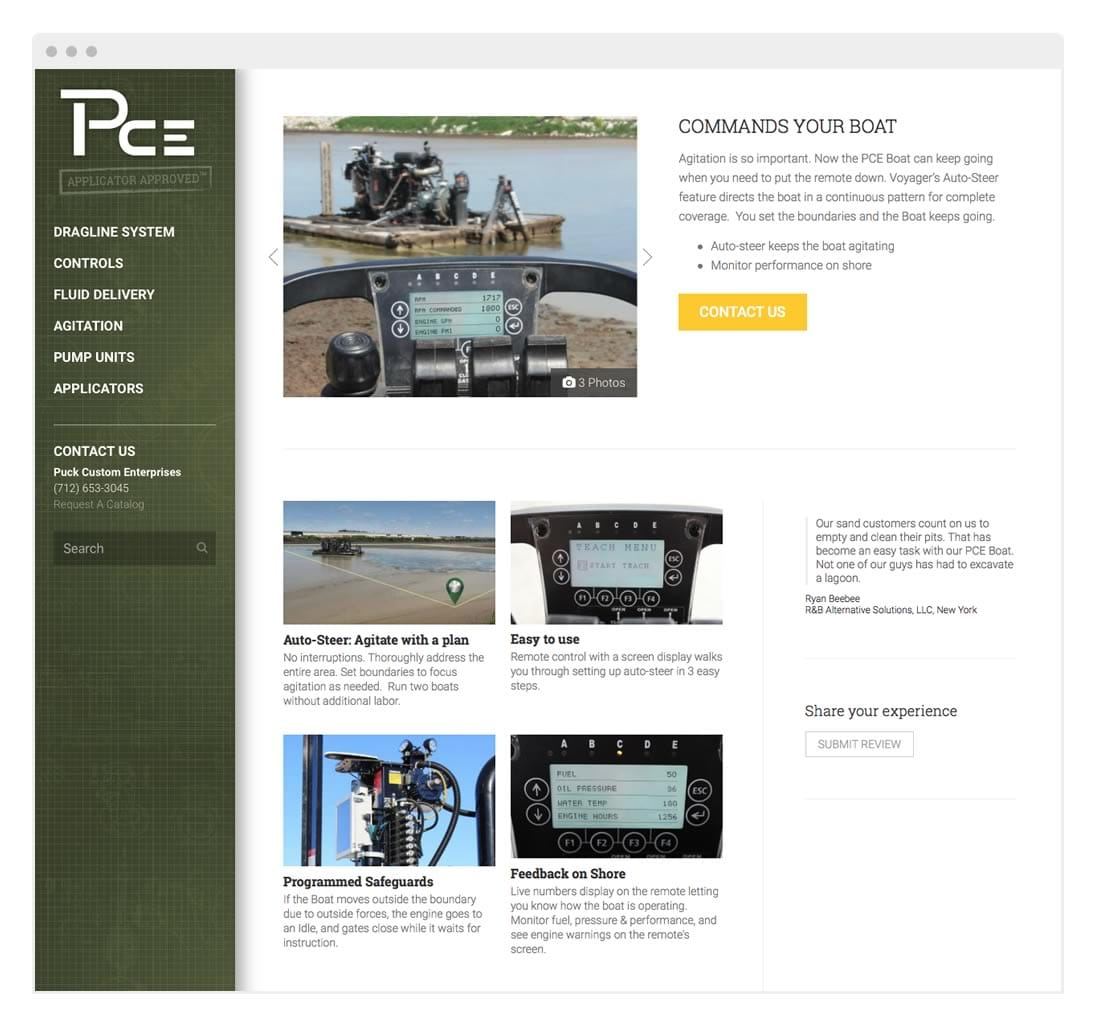 Website Design for Puck Custom Enterprises